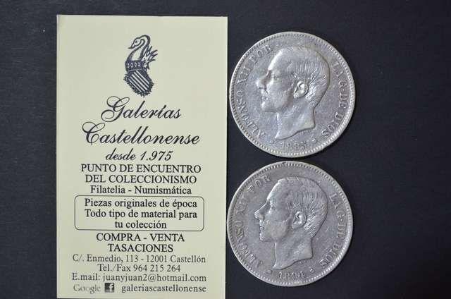 . Interesante lote compuesto por dos monedas de plata, valor 5 pesetas reinado Alfonso XII, a�o 1884, estrellas * 18* 84* ensayador MSM y la segunda con estrellas * 18* 85* ensayador MSM. Observa todos nuestros art�culos en Milanuncios, cualquier duda estamos a tu disposici�n