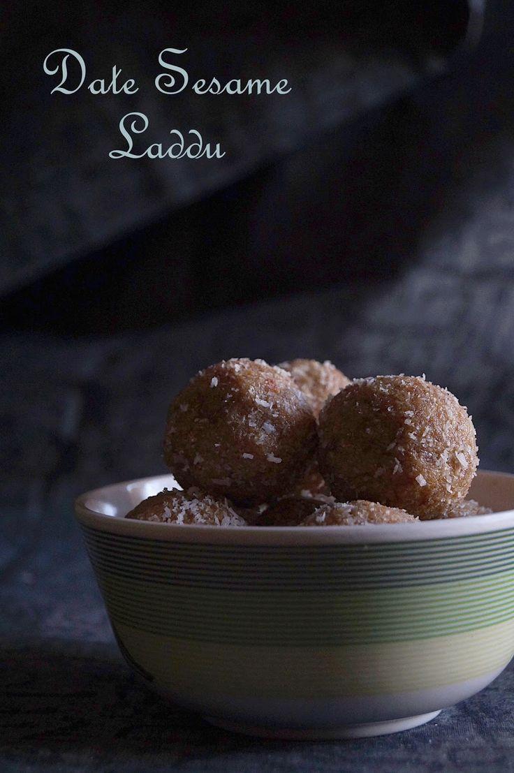 Dates Sesame Seeds Laddu Recipe - Vegan Healthy Date Sesame Balls Recipe - monsooncooking.com