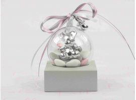 Dragées Baptême - Boule a dragees bapteme fille avec bijoux argentes