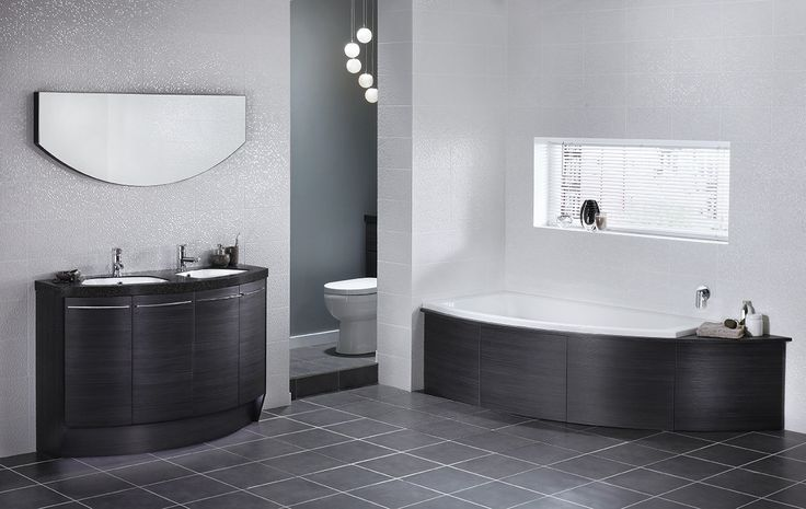The lightly textured surface and horizontal grain of black linear looks equally impressive with either noir or glacial white solid surface bathroom worktops for a perfect combination of black and white #symmerty #symmertyfreestanding #bathroomfurniture #myutopia
