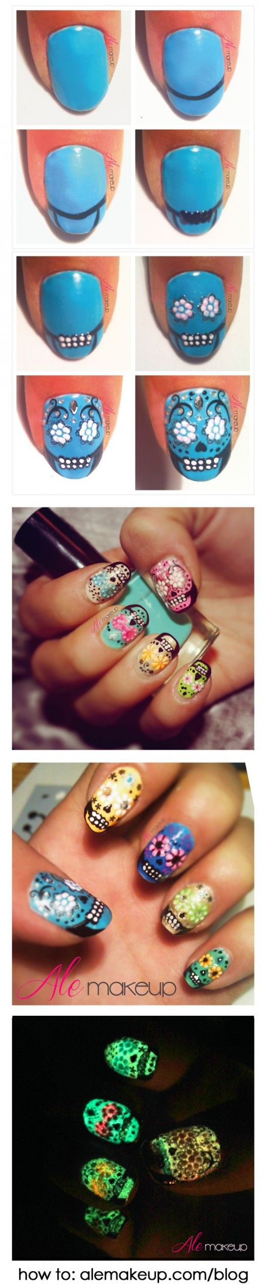 awesome halloween nail art designs, use glow in the dark paint for super cool nails!