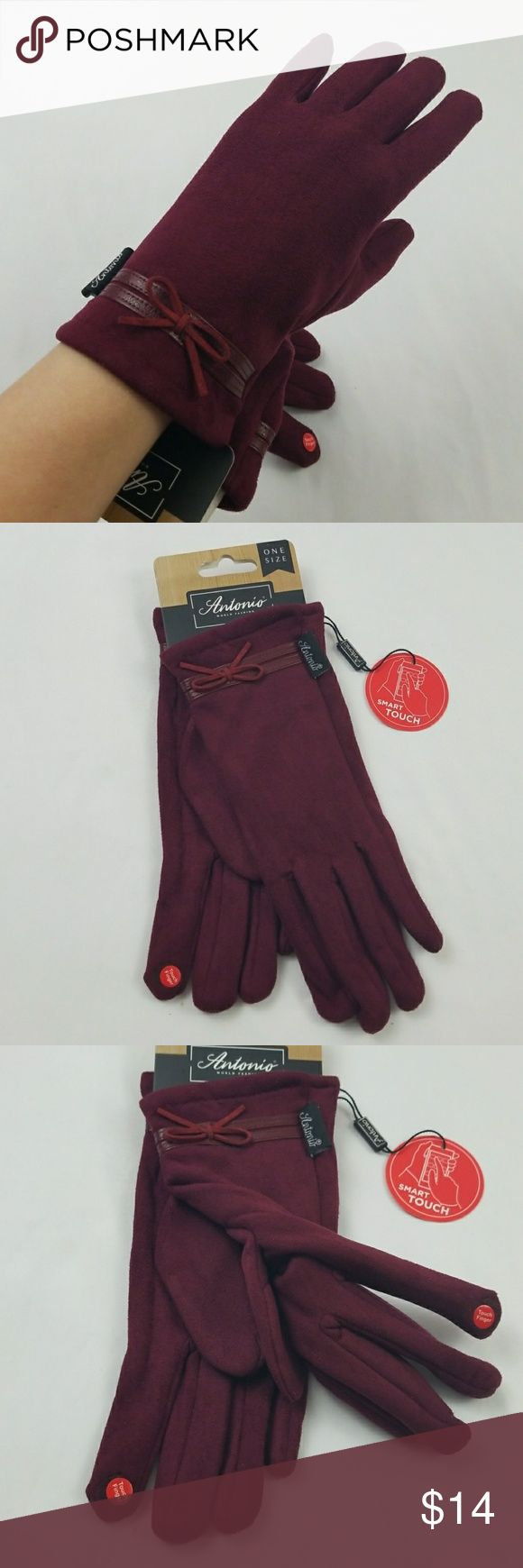 Fashion Lady Design Touchscreen Cold Weather Glove - Touch finger - you can use your smart phone when you wear your gloves, keep your hand warm, - Warm and Comfort -  very soft, smooth, thin and breathable material.  -  Looks like a soft suede,100% polyester, -  Inside soft lining, -  Material is flexible, fit the hand well and do not drop. Antonio Accessories Gloves & Mittens