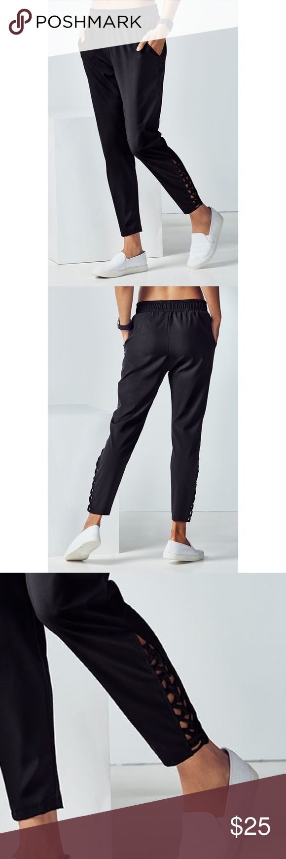 Brand new Fabletics Tiana Pant Sz Small Tall Brand new Fabletics Tiana pant with side pockets and woven ankle detail. Really great pants for running errands or to add to your athleisure wardrobe. Purchased from another Poshmark seller, just a bit too big on me. Size Small Tall Fabletics Pants Track Pants & Joggers