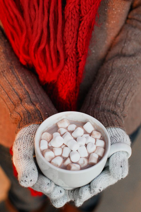 Salted caramel swirl hot chocolate + vanilla marshmallows... yum!