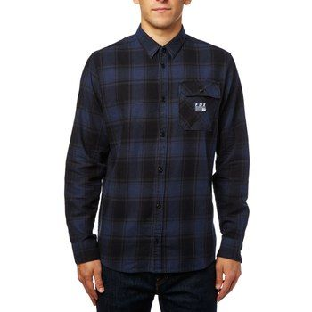 Image of Fox Voyd Flannel Shirt - black/blue