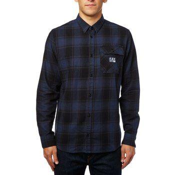 Image of Fox Voyd Flannel Shirt - black/blue