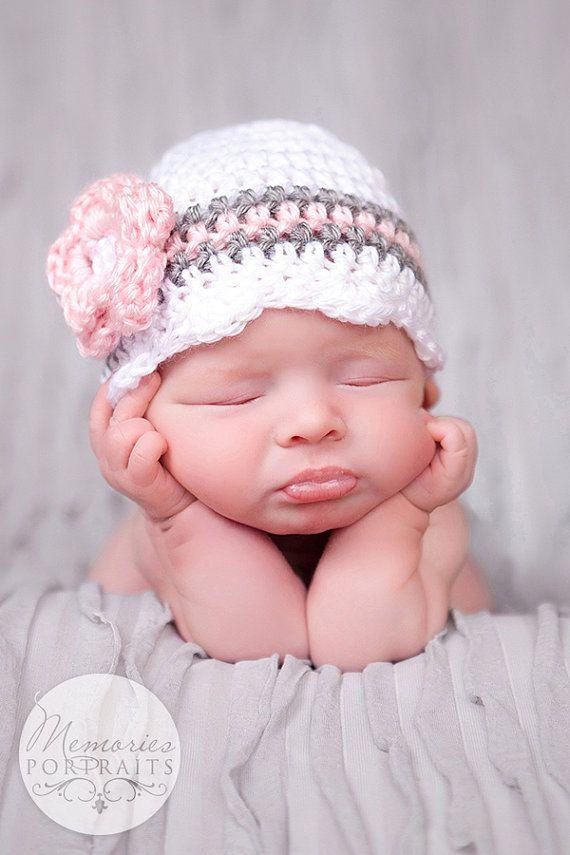 Baby Girl Beanie Crochet Newborn Hat Baby Girl Hat by CarolinaHats