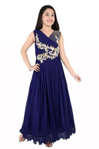 Girl S Designer Blue Colour Girls Party Wear Long Frock