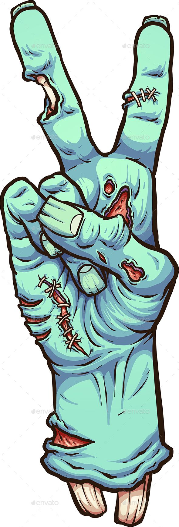 Zombie hand making the peace hand sign. Vector cli…