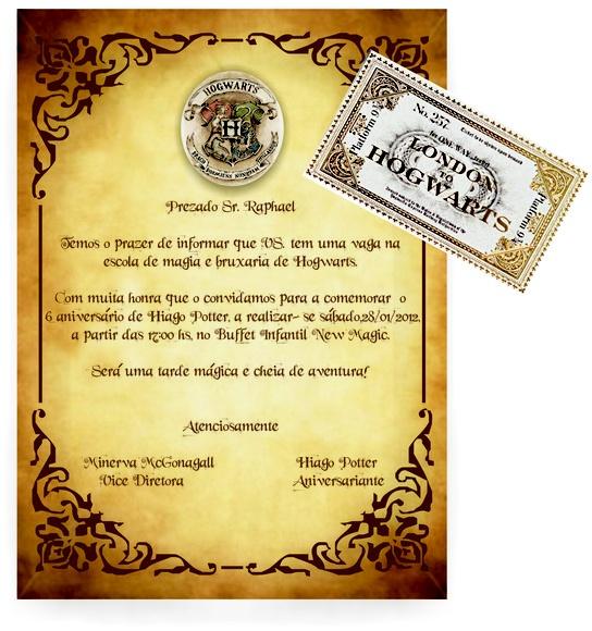 Convite personalizado de aniversário com o tema Harry Potter. Impressão a laser em papel couché de 230g. Acompanha fita de cetim combinando com o convite e etiqueta para fechamento do envelope e ticket para Hogwarts.   Dispomos de outras imagens, cores e fontes. Consulte-nos!!  QUANTIDADE MÍNIMA: 20 UNIDADES.  *FRETE NÃO INCLUSO* R$2,50