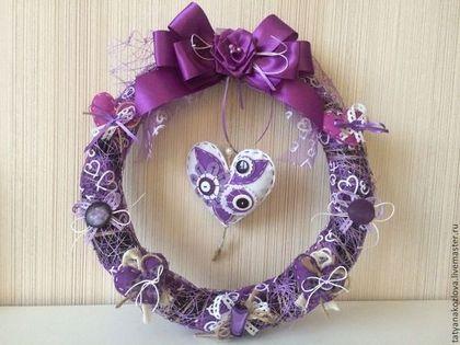 Венок интерьерный ко дню святого Валентина Сердце - фиолетовый,венок декоративный
