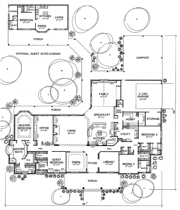 First Floor Plan of Traditional House Plan 67457 - way more than I need, but some interesting ideas