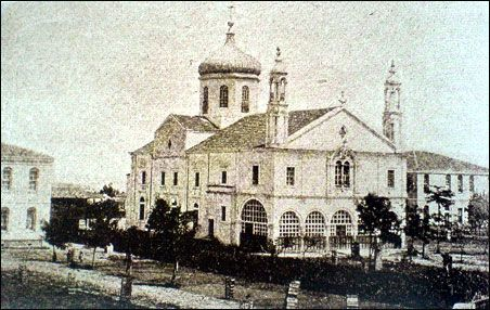 The church of Hagia Triada (Saint Trinity) in Amisos (Samsunta) circa 1901.  The boy's school is pictured to the left and the girl's school to the right