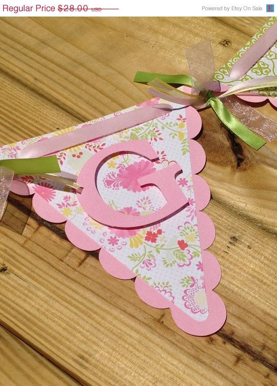Baby Name Banner - Girl Baby Shower Decoration - Baby Banner - Pink Baby Shower…
