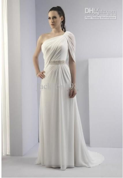 2017 Elegant Sheath One Shoulder Toga Inspired Lique Beaded Sash Chiffon Wedding Dresses V2142ps