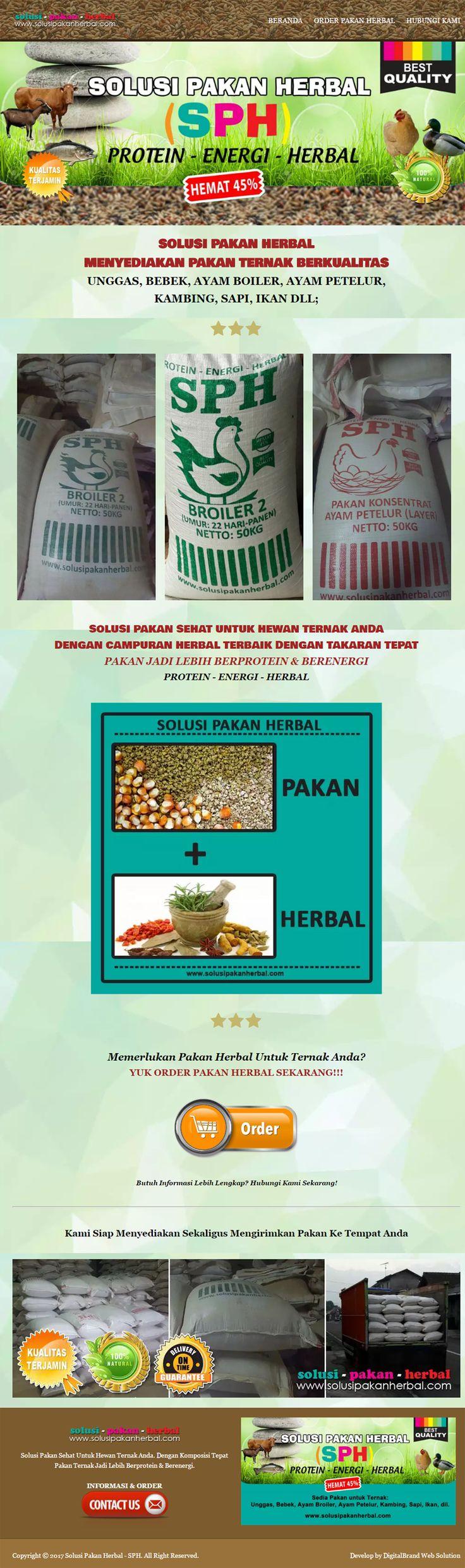 Solusi Pakan Herbal SPH. Website promosi atau landing page yang didesain profesional untuk mempromosikan produk pakan.