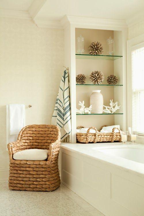 Chair by bathtub.