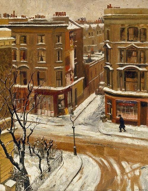 J. Noel Kilgour (Australian, 1900-1987),Snow in London, 1939. Oil on canvas on paperboard. Art Gallery NSW