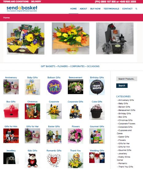 Sendabasket – Gift Baskets Website Digital Marketing Break Down: Mobile friendly Web Design Layer Slider Website Consultations Website Marketing Digital Branding to specification Web Development SEO web development Clean but effective  web design Easy to navigate eCommerce fuctionality Payment ExpressPayment Gateway eNewsletter