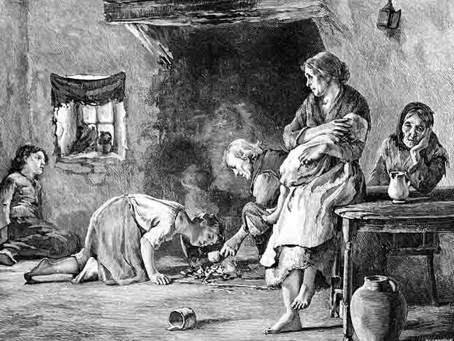 irish potatoe famine From 1845, when ireland's potato crop partially failed, to 1847, when starvation  and disease rose to dramatic levels, to 1852, when the economy and population .