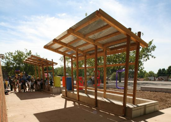 Wood With Corrugated Metal Roof Shade Structure