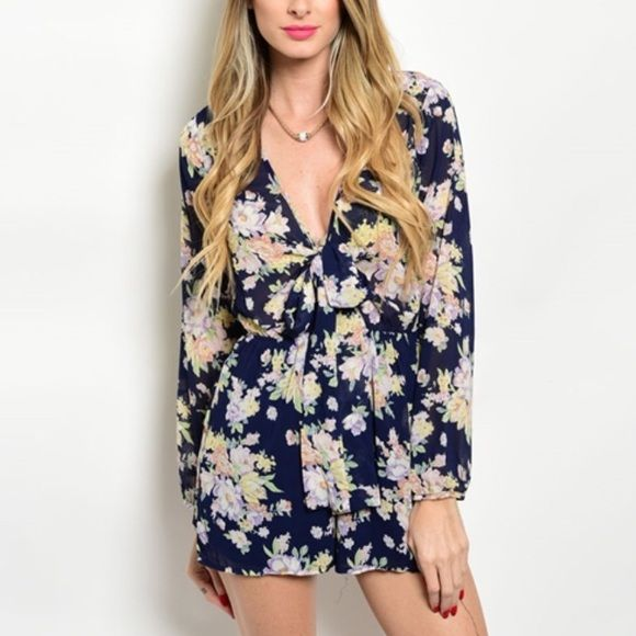 Floral romper 100% polyester Pants Jumpsuits & Rompers