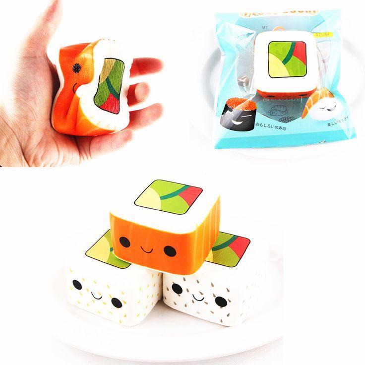 SanQi Elan Squishy Simulated square sushi slow rebound toys 6*3.6CM Original Packaging Decor Toy