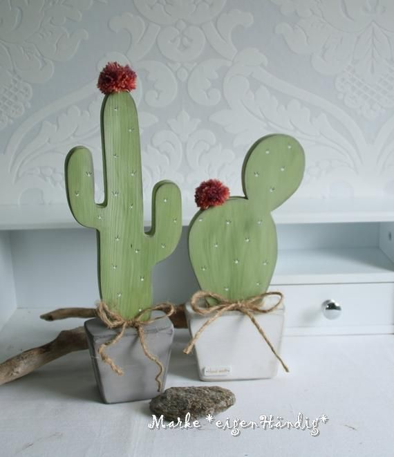 Cactus made of wood 2 pieces, trend, modern, table decorations, decorative