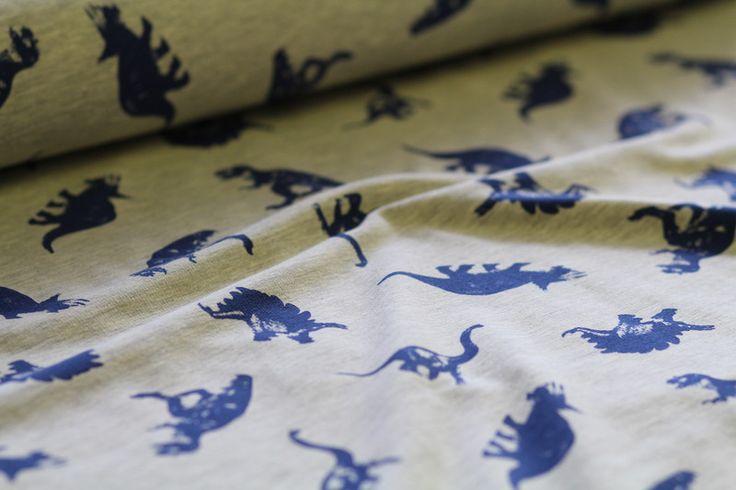 Stoff Punkte - Dino Sweat Dinosaurier grau meliert - ein Designerstück von Liluschka-in-Mettmann bei DaWanda
