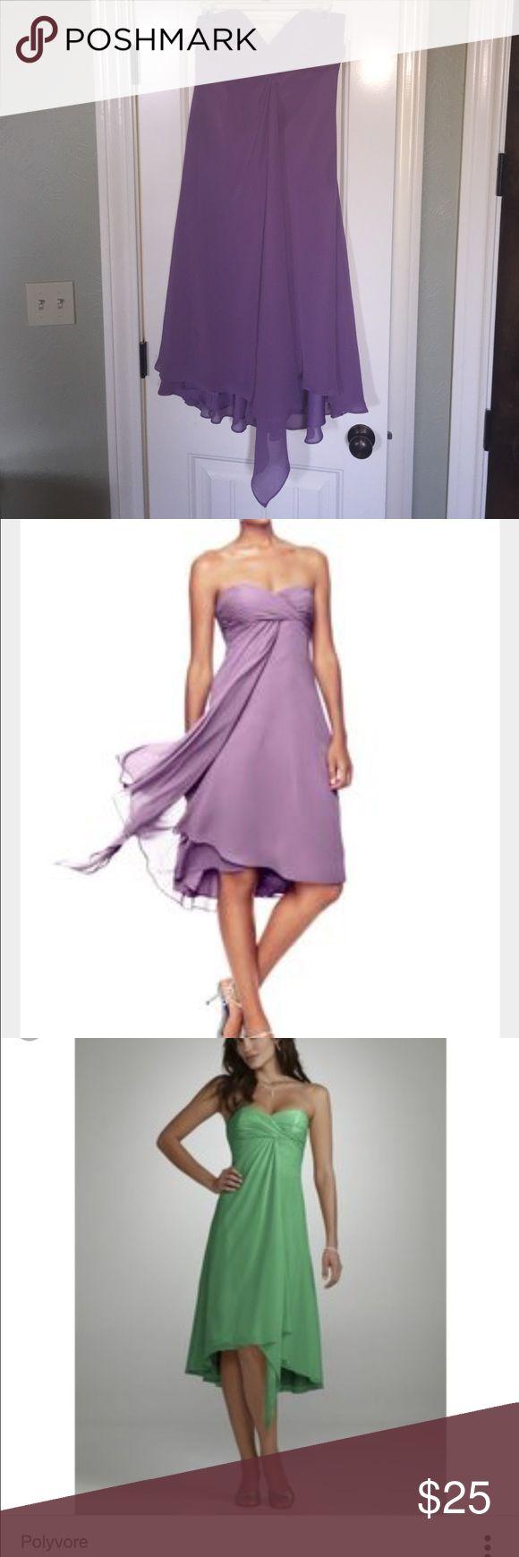David's Bridal Strapless Chiffon Short Dress David's Bridal Strapless Chiffon Dress in light purple. Only worn once. Size 8. David's Bridal Dresses Strapless