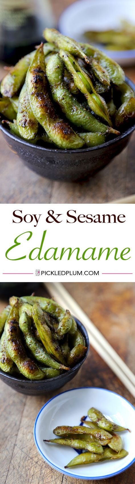 Healthy and Quick Recipe: Warm Soy and Sesame Edamame - the perfect late night snack! http://www.pickledplum.com/healthy-snack-edamame-recipe/