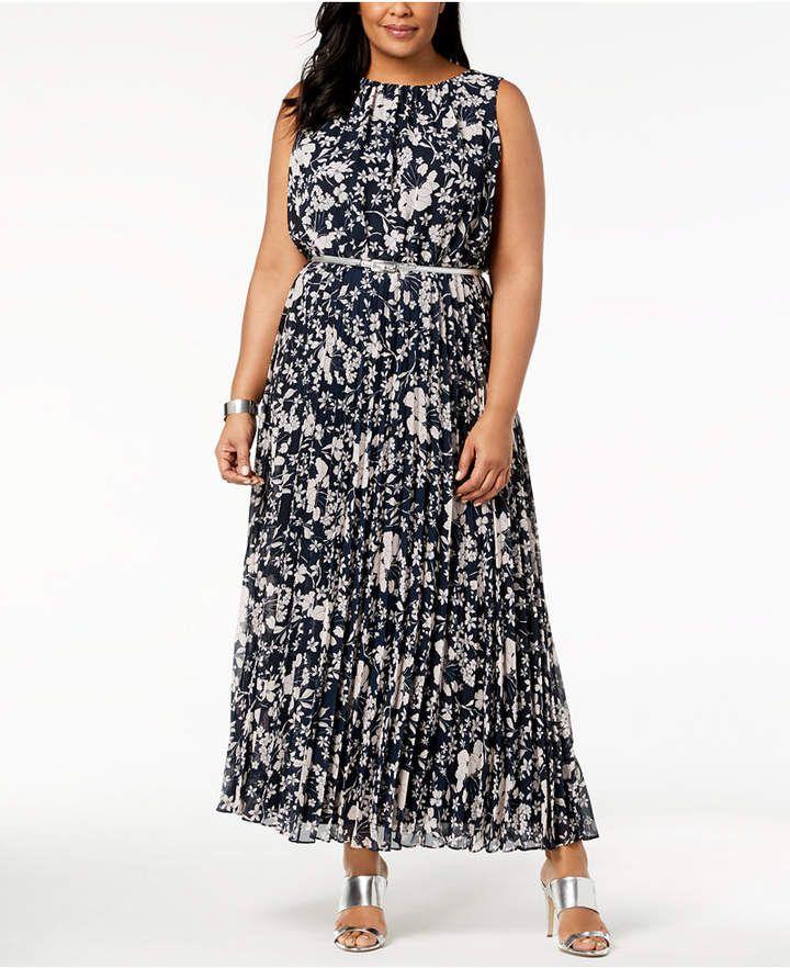 0741f8fe89ad Jessica Howard Plus Size Pleated Maxi Dress | casual dress in 2019 ...