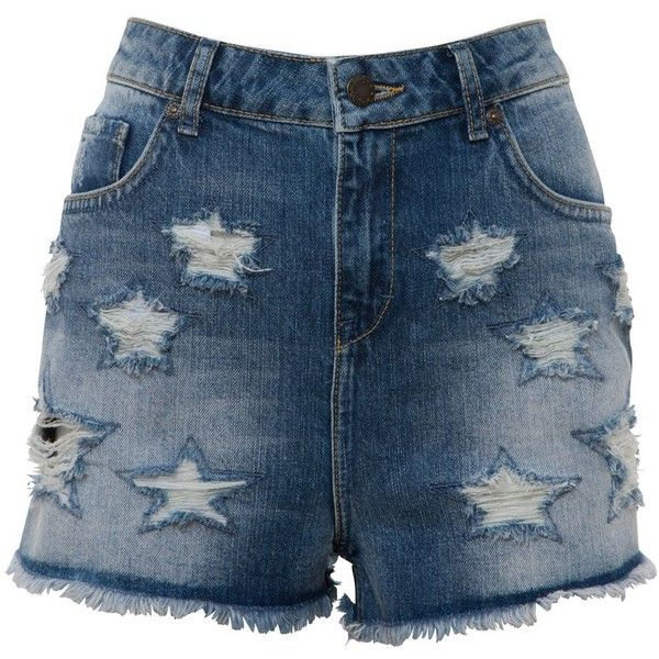 Blue Ripped Star Raw Edge Denim Shorts ($15) ❤ liked on Polyvore