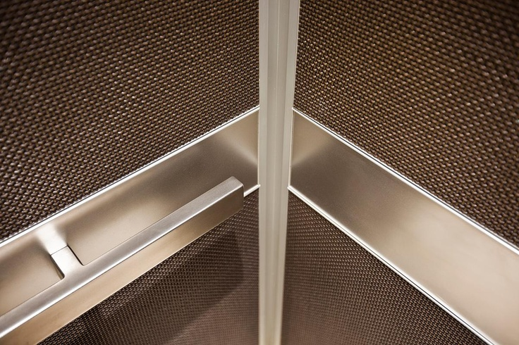 Bonded Bronze with Dark Patina and Charleston pattern; handrail panels in Stainless Steel with Seastone finish; Satin Stainless Steel Rectangular handrail