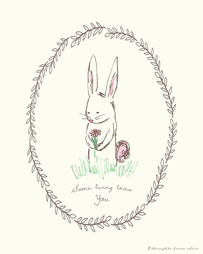 "Spring Easter Bunny Free Printable - ""Some Bunny Loves You"""