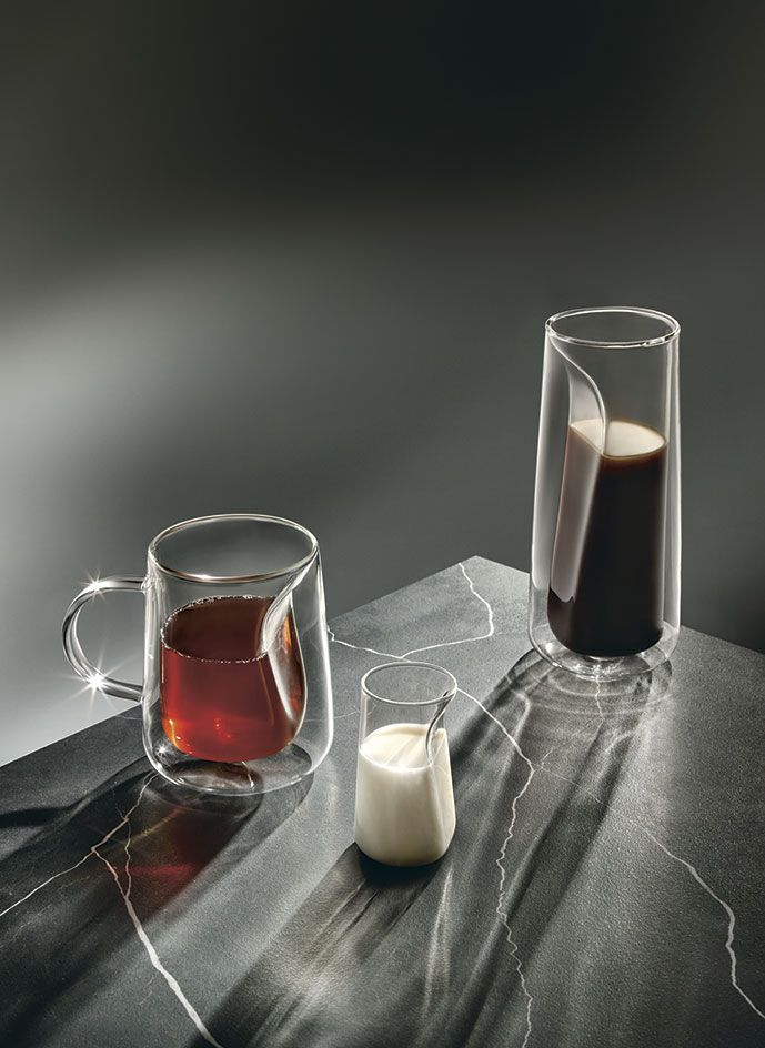 Taking inspiration from the Japanese tea ceremony, Jenkins&Uhnger chose to focus on the ritual of decanting tea or coffee into a cup. Its transparent glass vessel, manufactured by Ichendorf Milano, incorporates negative space between an inner and outer layer, placing emphasis on the pouring itself and keeping the exterior cool to the touch. #wallpaperhandmade