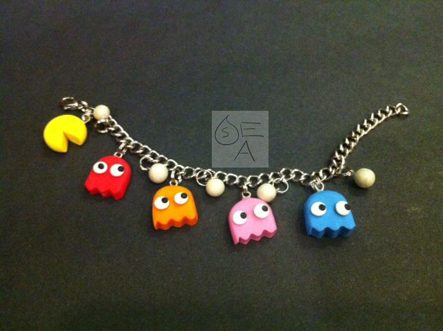 Polymer Clay PacMan Charm Bracelet