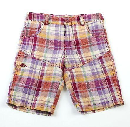 Bermuda de niño en algodón con estampado de cuadro abierto. - Pantalones para Niños de 4 a 16 Años - Mundo Kiriko