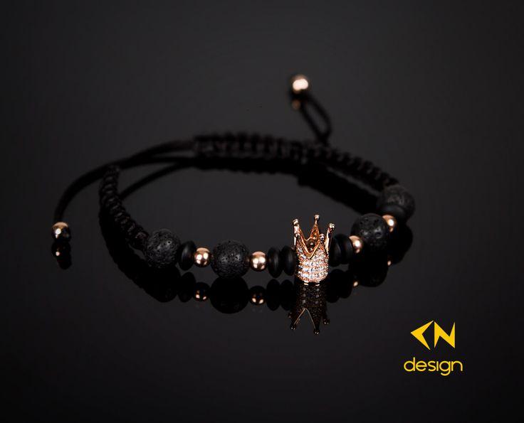 Rose Gold Crown - Onyx & Lava Stone Macrame Bracelet by Cndesignofficial on Etsy https://www.etsy.com/listing/256889180/rose-gold-crown-onyx-lava-stone-macrame