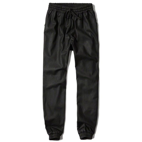 Abercrombie & Fitch Vegan Leather Joggers (£26) ❤ liked on Polyvore featuring pants, bottoms, black, faux leather pants, jogger pants, relaxed fit pants, relaxed pants and fake leather pants