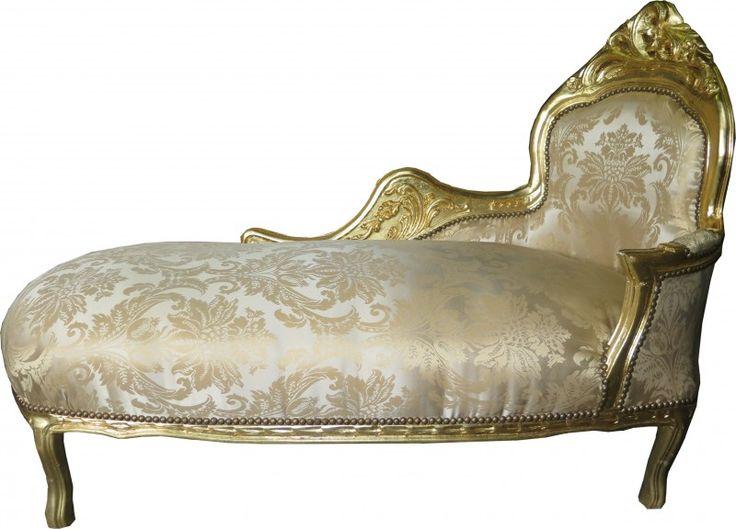 Casa Padrino Barock Chaiselongue Creme Gold Muster / Gold - Recamiere Liege Barock Möbel Chaiselongues