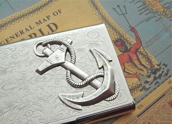 Business Card Case Nautical Anchor Card Case by CosmicFirefly, $48.00