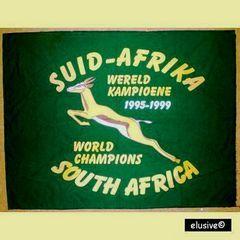 Rugby Wereldbeker 1995. 'Suid - Afrika Wereldkampioene'. Gedenk - bannier. Springbok Rugby.