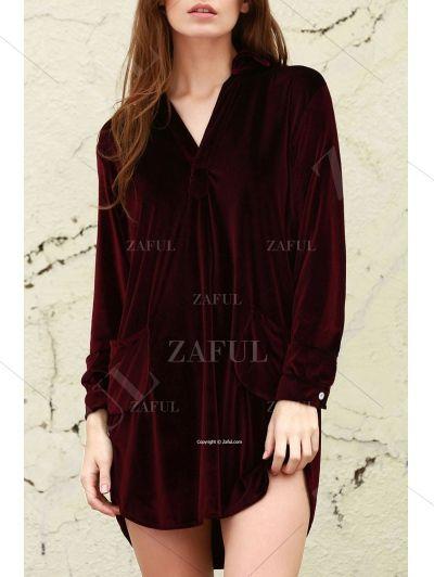 Cozy Velvet Shirt Dress WINE RED: Long Sleeve Dresses | ZAFUL