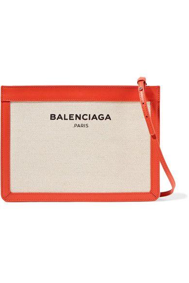Balenciaga - Leather-trimmed Canvas Shoulder Bag - Beige - one size