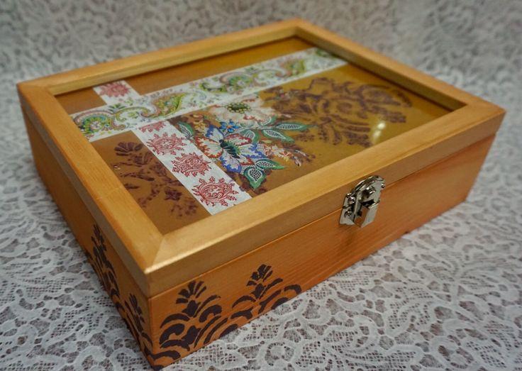 Decorated Box, Decoupage, Dekupaz, Tanning, Under Glass