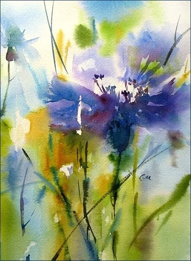 I really like how she used the paints like the focus on a camera. | Watercolors by Maria Stezhko (Акварели Марии Стежко): Cornflower