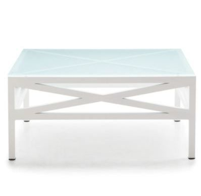 Freshen up your patio space with a crisp white coffee table with a tempered glass top.