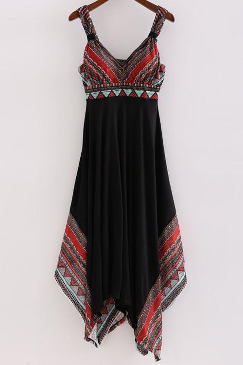 Printed Straps Irregular Hem Dress ==