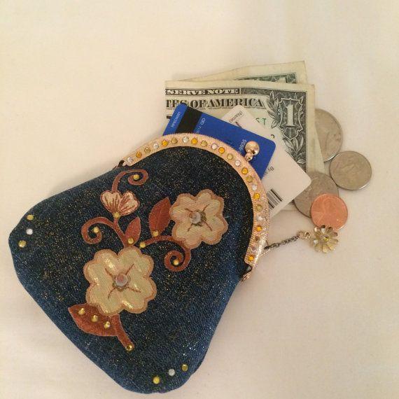 Monedero moneda oro Bling niña de las flores tarjeta titular del dril de algodón reciclado marrón azul flores damas de honor Junior regalo joyas encanto de cierre de beso chispa
